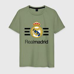 Футболка хлопковая мужская Real Madrid Lines цвета авокадо — фото 1