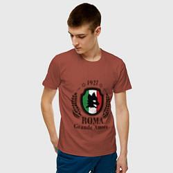 Футболка хлопковая мужская AS Roma: Grande Amore цвета кирпичный — фото 2