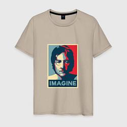 Футболка хлопковая мужская Lennon Imagine цвета миндальный — фото 1