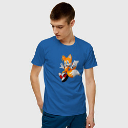 Футболка хлопковая мужская Лисенок Тейлз цвета синий — фото 2