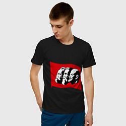 Футболка хлопковая мужская Маркс, Энгельс, Ленин цвета черный — фото 2