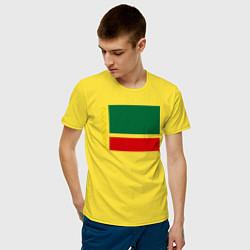 Мужская хлопковая футболка с принтом Чечня: флаг, цвет: желтый, артикул: 10011926900001 — фото 2