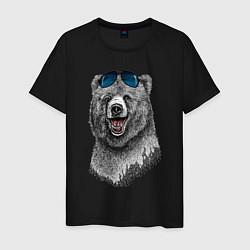 Футболка хлопковая мужская Медведь в очках цвета черный — фото 1
