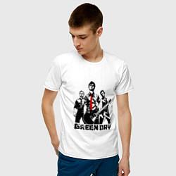 Футболка хлопковая мужская Группа Green Day цвета белый — фото 2