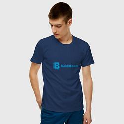 Футболка хлопковая мужская Blockchain цвета тёмно-синий — фото 2