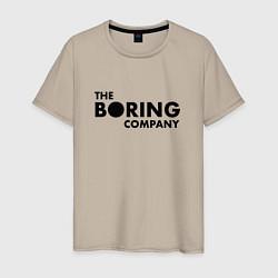 Футболка хлопковая мужская The boring company цвета миндальный — фото 1
