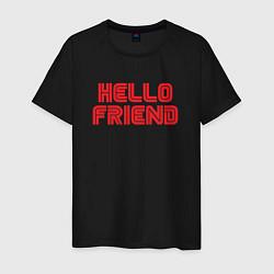 Футболка хлопковая мужская Hello Friend цвета черный — фото 1