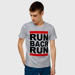Футболка хлопковая мужская Run Вася Run цвета меланж — фото 2