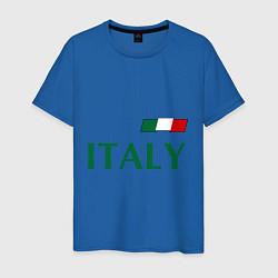Мужская хлопковая футболка с принтом Сборная Италии: 1 номер, цвет: синий, артикул: 10014069700001 — фото 1