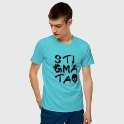 Футболка хлопковая мужская Stigmata цвета бирюзовый — фото 2