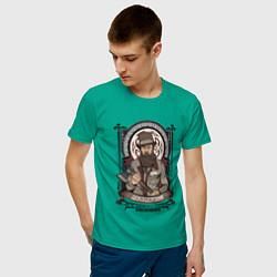 Футболка хлопковая мужская Достоевский Федор Михайлович цвета зеленый — фото 2