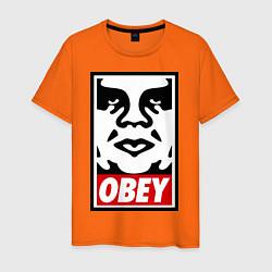Футболка хлопковая мужская OBEY Face цвета оранжевый — фото 1