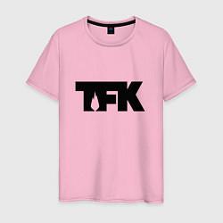 Футболка хлопковая мужская TFK: Black Logo цвета светло-розовый — фото 1