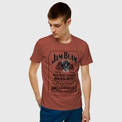 Мужская хлопковая футболка с принтом Jim Beam whiskey, цвет: кирпичный, артикул: 10015273600001 — фото 2
