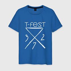 Футболка хлопковая мужская T-Fest 327 цвета синий — фото 1