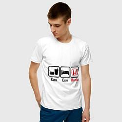 Мужская хлопковая футболка с принтом Главное в жизни - еда, сон, honda, цвет: белый, артикул: 10015367400001 — фото 2