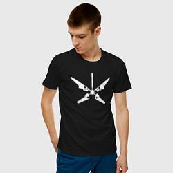 Футболка хлопковая мужская Радар цвета черный — фото 2