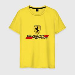 Футболка хлопковая мужская Scuderia Ferrari цвета желтый — фото 1