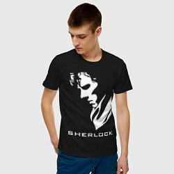 Футболка хлопковая мужская Sherlock Face цвета черный — фото 2