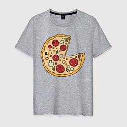 Футболка хлопковая мужская Пицца парная цвета меланж — фото 1