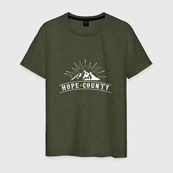 Футболка хлопковая мужская Hope Count: Mountain цвета меланж-хаки — фото 1
