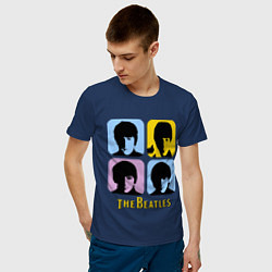 Футболка хлопковая мужская The Beatles: pop-art цвета тёмно-синий — фото 2