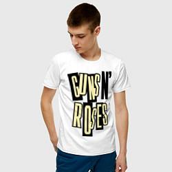 Футболка хлопковая мужская Guns n Roses: cream цвета белый — фото 2