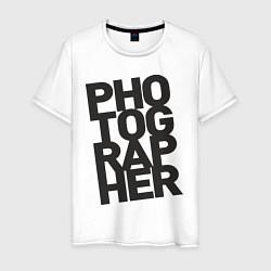Футболка хлопковая мужская Фотограф цвета белый — фото 1