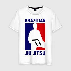 Футболка хлопковая мужская Brazilian Jiu jitsu цвета белый — фото 1