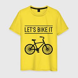 Футболка хлопковая мужская Lets bike it цвета желтый — фото 1