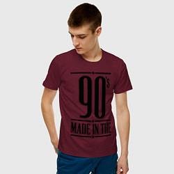 Футболка хлопковая мужская Made in the 90s цвета меланж-бордовый — фото 2