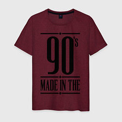Футболка хлопковая мужская Made in the 90s цвета меланж-бордовый — фото 1