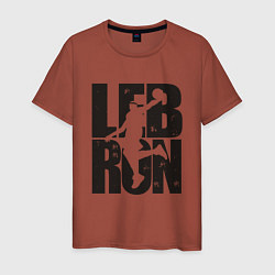 Мужская хлопковая футболка с принтом Lebron James, цвет: кирпичный, артикул: 10171954100001 — фото 1