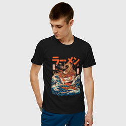Футболка хлопковая мужская Great Ramen: Kanagawa цвета черный — фото 2