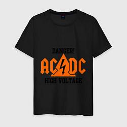 Мужская хлопковая футболка с принтом AC/DC: High Voltage, цвет: черный, артикул: 10017323700001 — фото 1