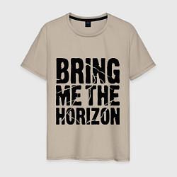 Мужская хлопковая футболка с принтом Bring me the horizon, цвет: миндальный, артикул: 10017329300001 — фото 1