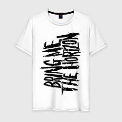 Мужская хлопковая футболка с принтом Bring me the horizon, цвет: белый, артикул: 10017330300001 — фото 1