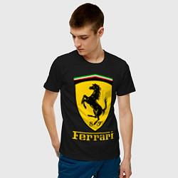 Футболка хлопковая мужская FERRARI цвета черный — фото 2