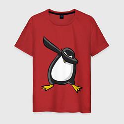 Футболка хлопковая мужская DAB Pinguin цвета красный — фото 1