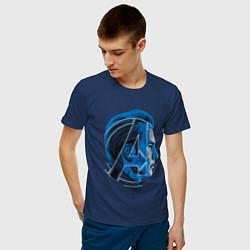 Футболка хлопковая мужская Captain America: Avengers цвета тёмно-синий — фото 2