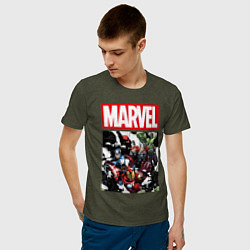 Мужская хлопковая футболка с принтом Avengers: Marvel Heroes, цвет: меланж-хаки, артикул: 10177712300001 — фото 2