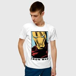 Мужская хлопковая футболка с принтом Iron Man, цвет: белый, артикул: 10178140300001 — фото 2