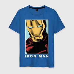 Мужская хлопковая футболка с принтом Iron Man, цвет: синий, артикул: 10178144100001 — фото 1