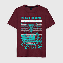 Футболка хлопковая мужская Northlane: Node цвета меланж-бордовый — фото 1