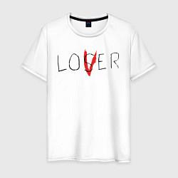 Футболка хлопковая мужская Lover цвета белый — фото 1