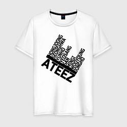 Мужская хлопковая футболка с принтом Ateez, цвет: белый, артикул: 10196054300001 — фото 1