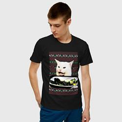 Мужская хлопковая футболка с принтом Woman Yelling at a Cat, цвет: черный, артикул: 10198542900001 — фото 2