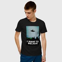 Футболка хлопковая мужская I WANT TO BELIEVE цвета черный — фото 2