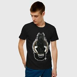 Мужская хлопковая футболка с принтом Йольский кот, цвет: черный, артикул: 10200871100001 — фото 2