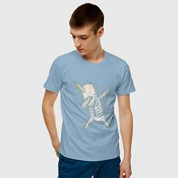 Футболка хлопковая мужская Dabbing Unicorn цвета мягкое небо — фото 2